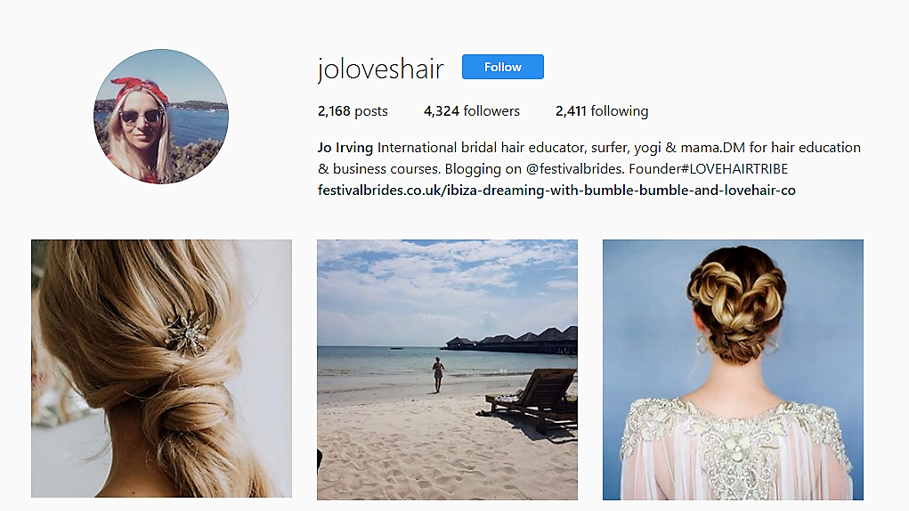 JO IRVING Intagram Wedding Hair